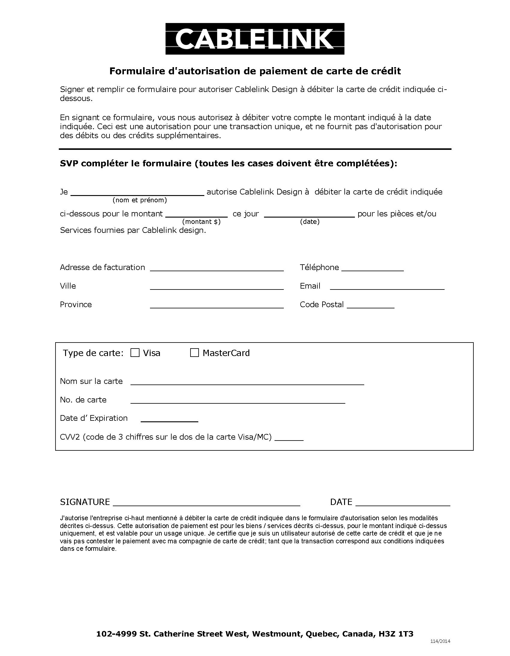 Formulaire pour paiement par carte de crédit
