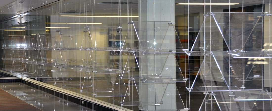 Suspended Acrylic Shelving